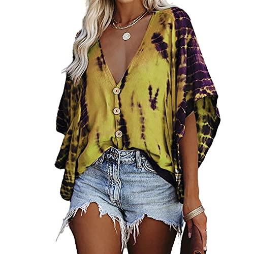 Elesoon Camisa de verano para mujer con rayas de tie-dye para trajes de baño de encubrimientos de talla grande, de chifón de murciélago, A-amarillo, 38