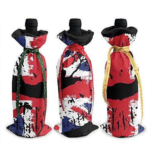 3 fundas para botellas de vino de Navidad, 3D, diseño de la bandera de Gran Bretaña, pintalabios en los labios, botellas de vinos, bolsas de decoración para Navidad, Año Nuevo, fiesta de cumpleaños