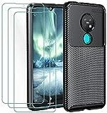 iVoler Cover per Nokia 6.2 / Nokia 7.2 + 3 Pezzi Pellicola Vetro Temperato, Fibra di Carbonio...