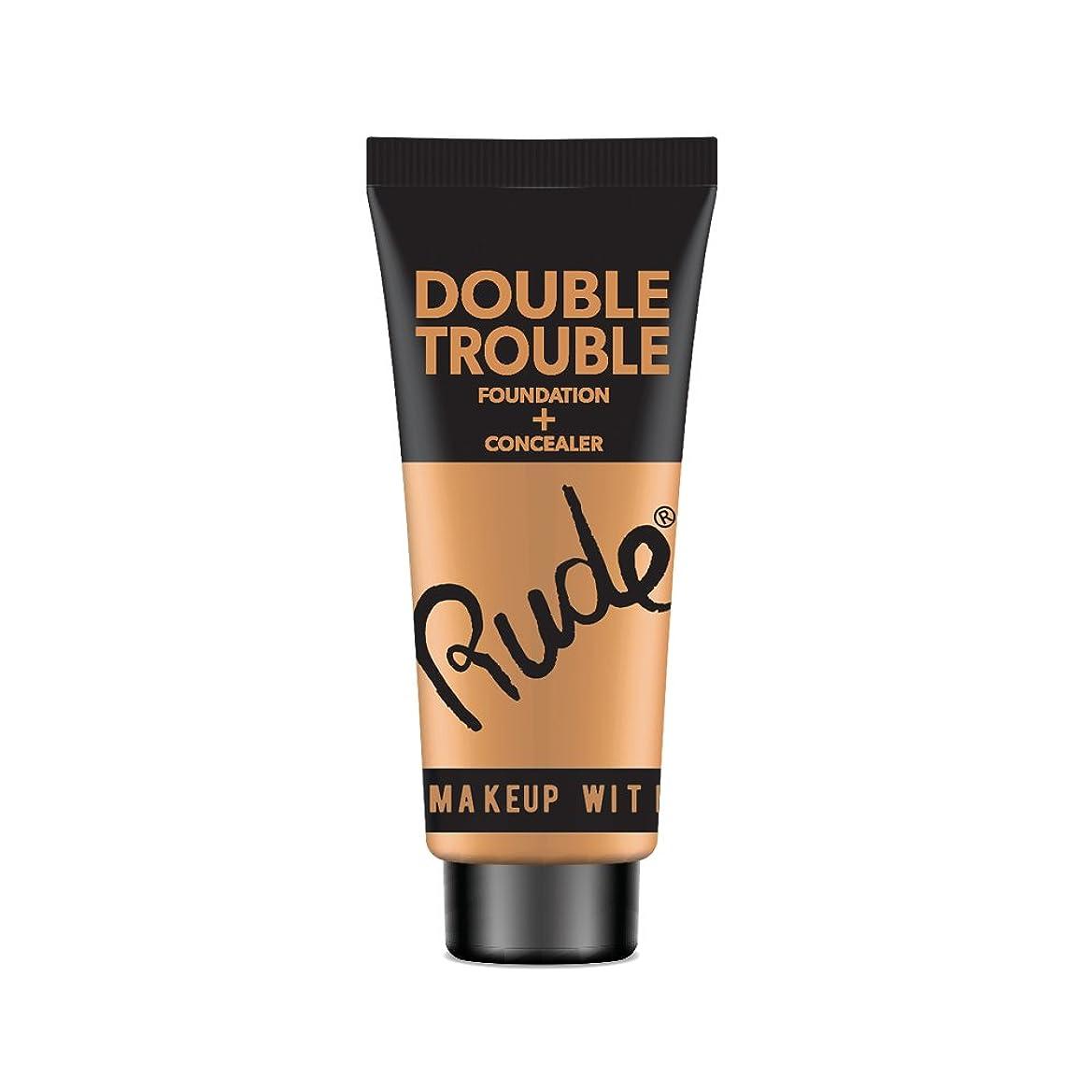 サスペンションしっかりのためRUDE Double Trouble Foundation + Concealer - Tan (並行輸入品)