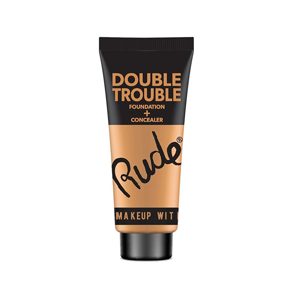 配管株式会社移植RUDE Double Trouble Foundation + Concealer - Tan (並行輸入品)