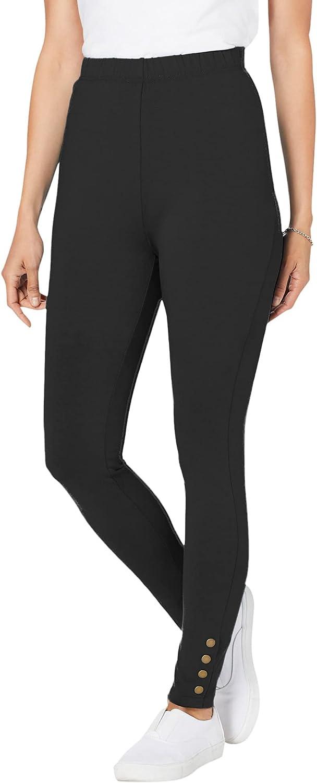 Woman Within Women's Plus Size Snap Trim Legging