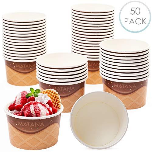 matana 50 Premium Einweg Eisbecher, Eisschalen Pappe, Pappschalen, 240ml - Stapelbarer, Umweltfreundlich & Recycelbarer Hochwertiger Karton - Dessertschalen für Kindergeburtstags Partys Picknicks.