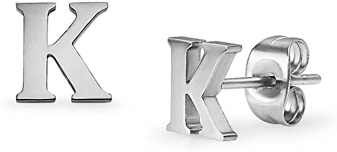 Alphabet Initial Letter Tiny Earring Studs Stainless Steel Silver Rose Gold Black Tone Letters A-Z