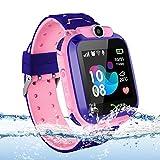 Vannico Localizador GPS Niños, Reloj GPS Niños Localizador Con SOS Anti-Lost Alarm Para Tarjeta Pantalla Táctil Smartwatch Para 3-12 Años De Edad Regalo De Cumpleaños Niños Niñas (Pink)