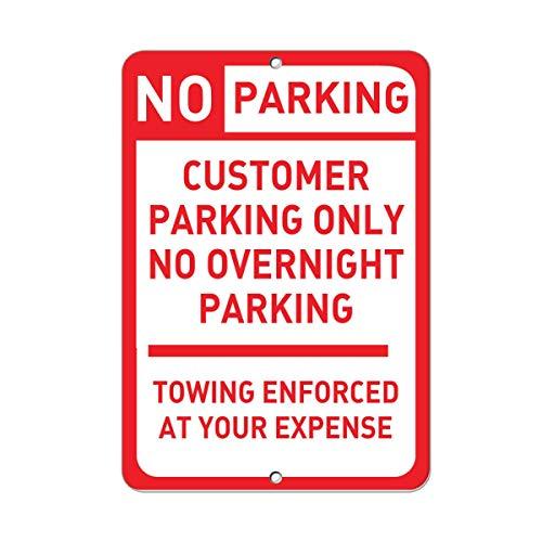 """Hunnry Customer Parking Only No Overnight Parking Towing Enforced Eisenmalerei Blechschildwand Vintage dekoratives Plakat Warnplakette Dekorativer Raum Club Gartenparkplatz (8""""B x 12"""" H)"""