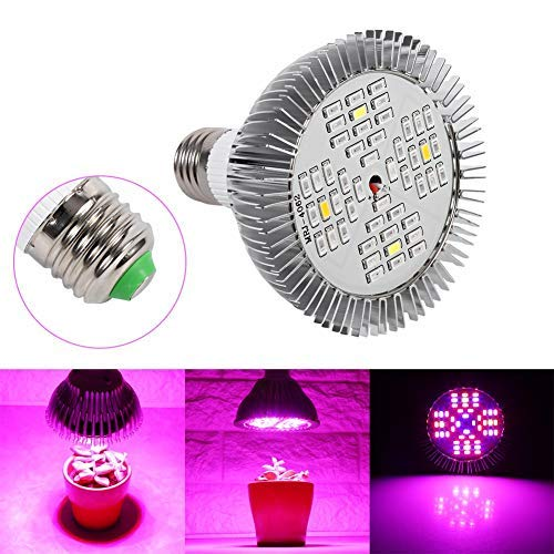 Lampara de Cultivo Grow Light LED, 48W E27 Panel de alta potencia Full Spectrum LED Greenhouse Hydroponics Vegs Planta de flor en maceta Grow Bombilla Indoor Growing Lamp