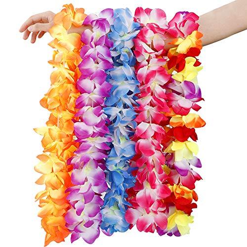 Blumenketten Hawaiiketten, HICOO Hawaiikette Halskette Girlande Blumenkette Stoffblüten Hawaii Blumen Set für Kleid, Party Favors, Strand und Themenbezogenen Geburtstage 5 Stücke