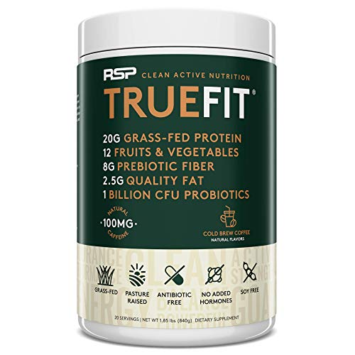 RSP TrueFit - Grass Fed Lean Meal Replacement Protein Shake, All Natural Whey Protein Powder with Fiber & Probiotics, Non-GMO, Gluten-Free & No Artificial Sweeteners, 2LB Cold Brew Coffee