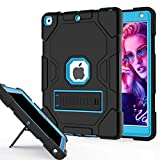 ZoneFoker Thick Case for iPad 8th/7th Generation Case, iPad 10.2 inch Protective Case 2020/2019, 3-in-1 Heavy Duty Shockproof Rugged iPad Cover with Stand for Kids/Boys/Girls (Black/Blue)