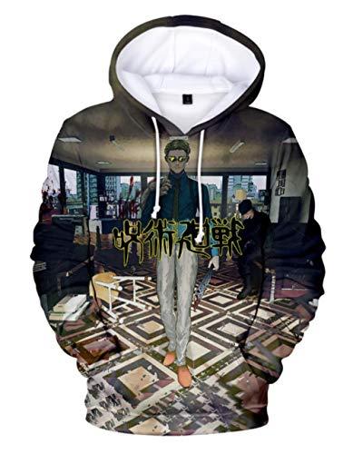 MSHAQT Jujutsu Kaisen Anime Cool Hoodies Jugend Kapuzenpullover Herren Pullover Sweatshirt 3D Trend Tops Unisex Khaki 4XL