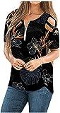 SLYZ Camiseta De Manga Corta Cruzada con Hombros Descubiertos Y Moda De Verano para Mujer Camiseta De Moda para Mujer