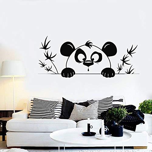 mlpnko Cartoon Panda Kind Wandtattoo Babyzimmer Kindergarten Zimmer Tierheim Dekoration Kunst Tapete,CJX10611-86x35cm
