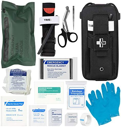Emergency Trauma Kit with CAT Tourniquet Emergency Treatment Care EMT First Aid Kit Black product image