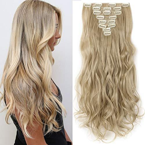 TESS Clip in Extensions wie Echthaar Haarteile günstig Haarverlängerung 8 Tressen 18 Clips Ombre Haarteil Gewellt 17