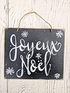 Funlaugh Joyeux Noel French Merry Christmas Christmas Decor Holiday Signs Whole Sale Christmas Snowflakes Chalkboard Art Antique Cabin Wall Art Decoration Wooden Plaque Sign