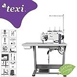 TEXI - Máquina de coser industrial con 2 agujas (mesa y soporte)