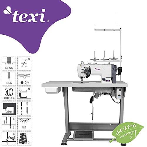 TEXI - 2 naald steppsteek - industrie naaimachine - naaldtransport - compleet (met tafel & frame) NIEUW!