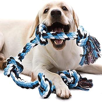 QIANLIA Jouets à corde pour chiens grands et forts, Durable Jouet à macher chien 5 nœuds de corde pour mâcher agressifs, Presque indestructible - Pour les grandes races et les grands chiens