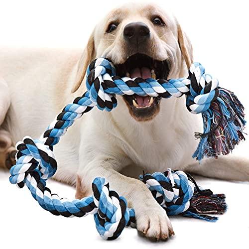 Corda Giocattolo per Cani, QIANLIA Cane Masticare Giocattolo Corda, giocattolo per cani di grandi dimensioni Tug for Aggressive Chewers, benefica per Salute Dentale e Pulizia dei Denti, 92cm