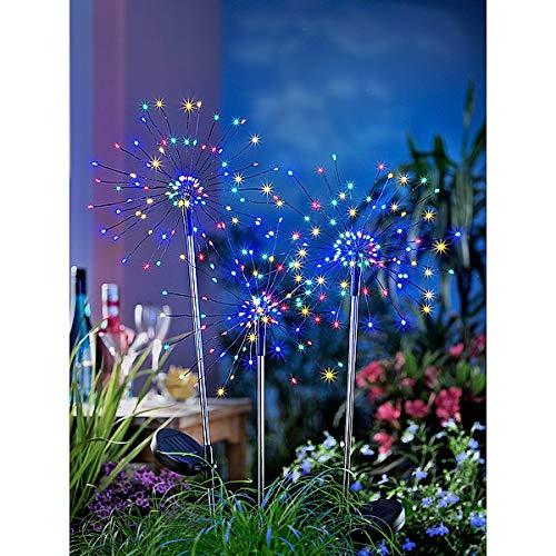 3er-Set Solar-Gartenstecker Magia | Lichtpunkte schweben im Dunkeln | 80 cm hoch | je 90 farbige LEDs