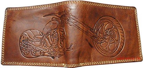 Hochwertige Geldbörse Geldbeutel Portemonnaie Wasserbüffel Leder Chopper beidseitige Prägung