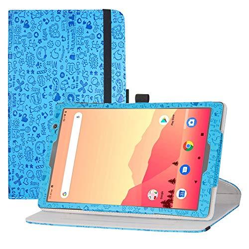 LFDZ Funda MatrixPad S20, Cuero Sintético Rotación de 360 Grados de Función de Soporte para Vankyo MatrixPad S20 10 Inch Tablet/Yuntab D107 Tablet(Not fit MatrixPad S30), Azul