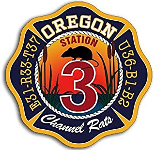 American Vinyl Maltese Shaped Oregon Channel Rats Sticker (Decal Station 3 fire Firefighter)