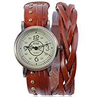 ZooooM ビンテージ ブレスレット 風 デザイン ウォッチ 腕時計 ファッション アクセサリー カジュアル ユニーク オシャレ アナログ レディース 女性 (ライト ブラウン) ZM-VNWC411-LBR