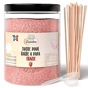 Greendoso-Azúcar para Algodón de Azúcar, Fresa de 1 Kg, Nubes, Polvo para Máquina + 50 Palitos de 30 Cm (Ofrecido) + 1 Cuchara Graduada