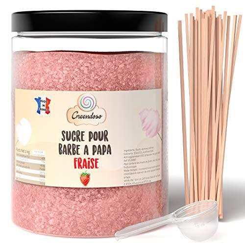 Greendoso-Sucre Barbe à Papa Fraise 1 Kg, Poudre Barbapapa...