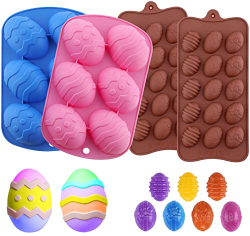 4Pcs Easter Egg Silicon mold for Chocolate Bombs 5 Different Easter Egg Shapes Baking Mold Tray for Handmade Candy Cookie Chocolate