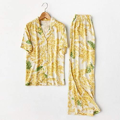 JFCDB Nachthemd Zomer Bloemenprint Viscose Mode Dames Pyjama Set Lange mouw Lange broek Casual Nachtkleding Geschikt voor Aardbei Katoenen Pyjama, Geel Mimosa, L