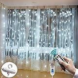 LED Lichtervorhang 3m x 3m, Etmury 300 LEDs USB Lichterkettenvorhang Wasserfest mit Fernbedien 8 Modi Lichterkette Gardine für Party Schlafzimmer Innenbeleuchtung Weihnachten Außen/Innen...