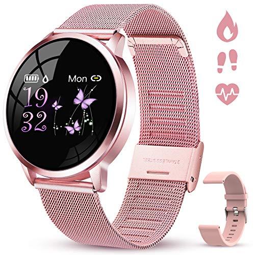 GOKOO Smartwatch Damen Fitness Tracker Für iOS Android Handy Mit IP67 Wasserdicht Pulsuhr SMS SNS Benachrichtigung Schlafmonitor Blutdruck Schrittzähler Frauen Sportuhr