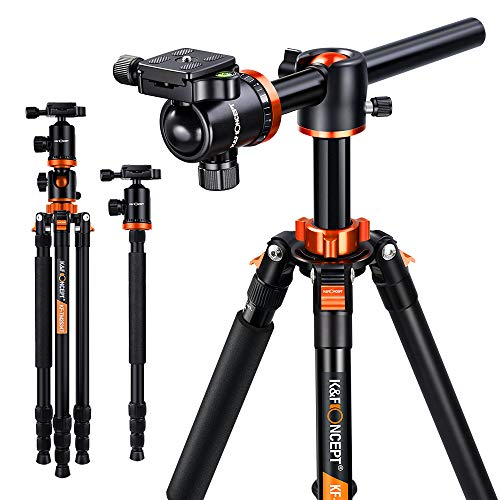 K&F Concept 66 Inch Camera Tripod 4 Section Professional Transverse Center Column Tripods with 360 Degree Ball Head Quick Release Plate Compatible with DSLR Camera