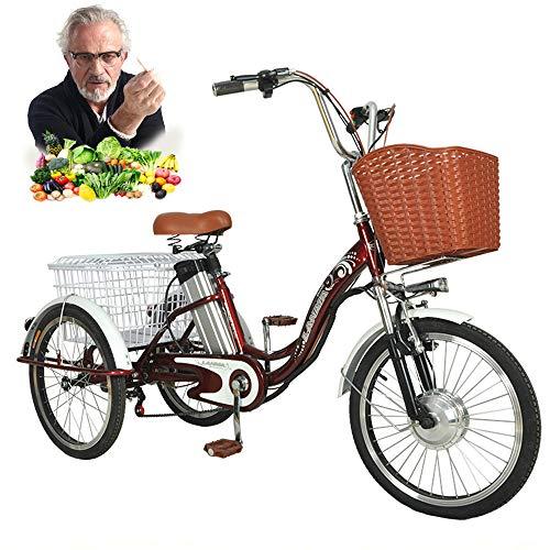 Triciclo EléCtrico, Refuerzo De BateríA De Litio De 20'Triciclo para Adultos De 3 Ruedas, 12 Ah, Viaje De 40 Km con Luz Led Y Canasta