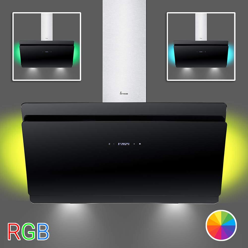Campana extractora de pared (90 cm, acero inoxidable, cristal negro, 612m³/h, 4 escalones, iluminación LED RGBW, pantalla LED, teclas de sensor TouchSelect) SOLO90SM - KKT KOLBE: Amazon.es: Grandes electrodomésticos