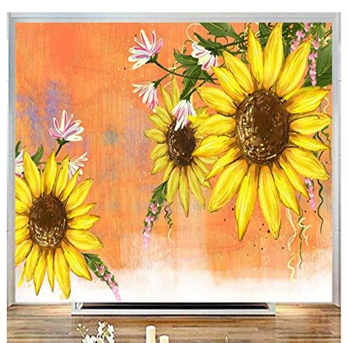 3D Muurstickers Zon Bloem Cartoon Fotobehang Mooie Stereoscopische Kids Muurpapieren Oranje Muur Papieren voor Kinderen Kamer 200x140cm
