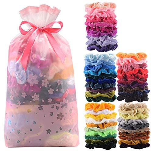 Velvet Elastics Hair Scrunchies for Women - Numblartd 50Pcs Assorted Colors...