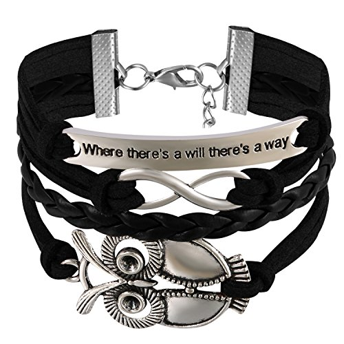 JewelryWe Schmuck Leder Freundschaftsarmband, Vintage Where There's a Will There's a Way große Eule Infinity Unendlichkeit Zeichen Charm Armband Armreif Wickelarmband, Schwarz Silber