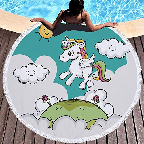 LIFUQING Toalla De Playa Redonda De Unicornio Y Niña Toalla De Ducha De Dibujos Animados Microfibra Círculo De Verano Estera De Yoga con Borla para Niños 150X150Cm