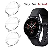 KPYJA for Samsung Galaxy Watch Active 2 44mm Screen Protector, All-Around TPU Anti-Scratch Flexible Case Soft Protective Bumper Cover for Galaxy Watch Active 2 Smartwatch (Clear/Clear/Clear, 44mm)