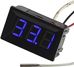UCTRONICS -30-800 grados centígrados Digital Temperatura Metro Azul Pantalla LED K-tipo termopar Sensor de temperatura 2-hilos Protección de polaridad inversa con caja negra