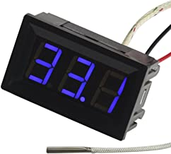 UCTRONICS -30-800 Degree Centigrade Digital Temperature Meter Blue LED Display K-Type Thermocouple Temp Sensor 2-Wires Reverse Polarity Protection with Black Case