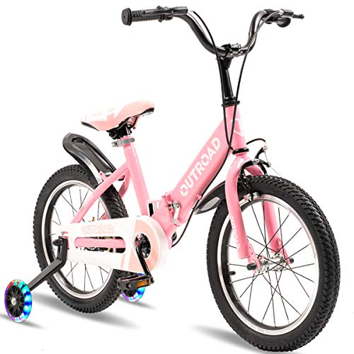 Outroad Kid's Bike 16 inch Wheels, Adjustable Seat, for Ages 3 Years and Up Toddlers and Kids, Pink