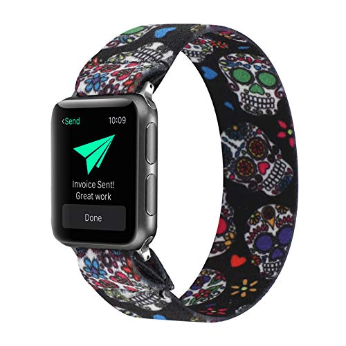 PENKEY Stretchy Band Compatible with Apple Watch Elastic Band 42mm 44mm Cute Pattern Soft Nylon Strap Replacement Wristband for iWatch Series 5/4/3/2/1 (Skull, 42mm/44mm Small Size)