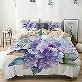 Juego de Funda nórdica Beige, Acuarela delicadas Flores de Hortensia Arreglo botánico floreciente Inspirado en la Boda Azul Violeta, Juego de Cama Decorativo de 3 Piezas con 2 Fundas de Almohada Easy