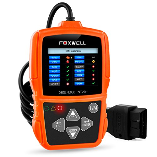 FOXWELL OBD2 Diagnosegerät NT201 Auto KFZ OBDII/EOBD Diagnose Scanner Fahrzeug Fehlercodeleser OBD2 Auto-Diagnosegerät für Lesen und Löschen Fehlercode Scanner, Orange