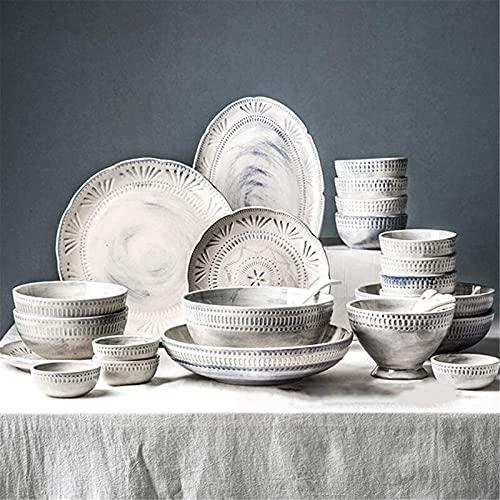 Juego de Platos, Conjuntos de Cena de cerámica, Cuenco/Plato/Cuchara | Conjunto de vajillas de Textura en Relieve Barroco 3D, Conjunto de vajillas de combinación de Porcelana de Tono Azul-Gris, 30